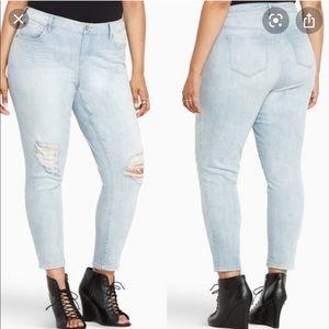 Torrid Light Wash Distressed Girlfriend Jeans